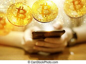 femme, or, mobile, jeune, bitcoin, téléphone, utilisation