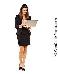 femme, ordinateur portable, contre, fond, utilisation, blanc