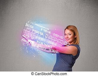 femme, ordinateur portable, numers, exploser, tenue, données, désinvolte