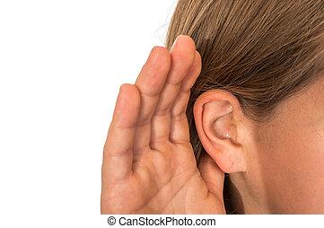 femme, oreille, écoute, elle, main