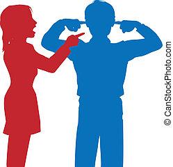 femme, oreilles, doigts, homme, hurlement, disputer, écouter