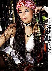 femme, oriental, vêtements