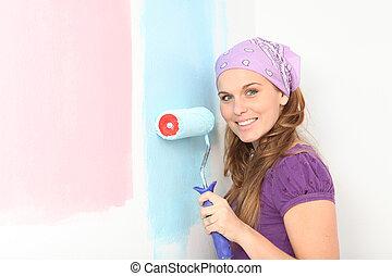 femme, ou, décider, tôt, crèche, blue., peinture, pregnant, rose