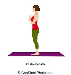 femme, ou, pranamasana, pose, prière, yogi