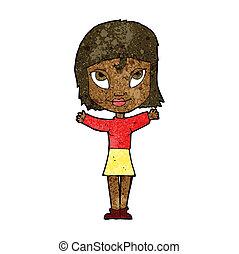 femme, ouvert, dessin animé, bras