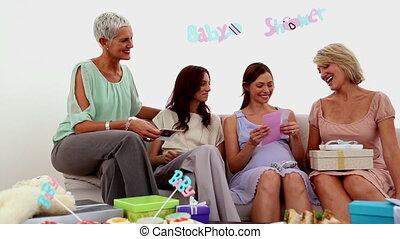 femme, ouverture, carte, pregnant, elle