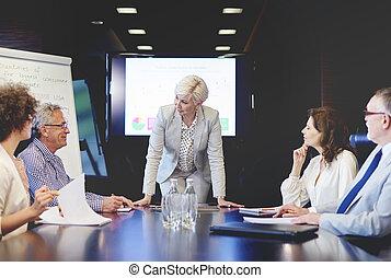 femme, ouverture,  questions,  Business, plancher