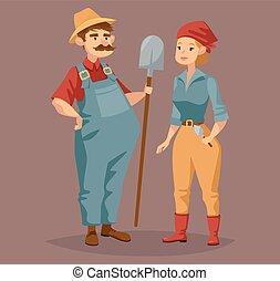 femme, ouvrier, agriculture, dessin animé, jardinier, homme