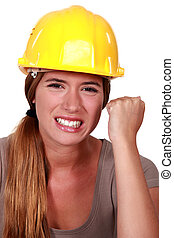 femme, ouvrier construction