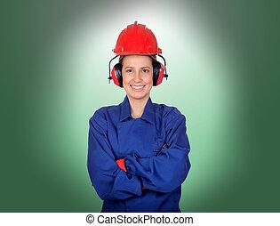 femme, ouvrier industriel, heureux