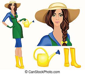 femme, ouvrier, jeune, jardin