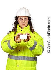 femme, ouvrier, une, construction, tenue, vide, carte