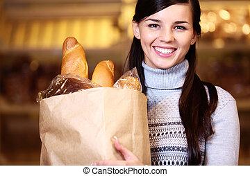 femme, pain