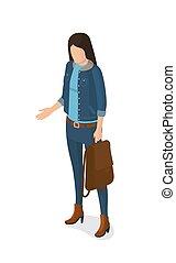 femme, pantalon, jean, veste, vecteur, complet