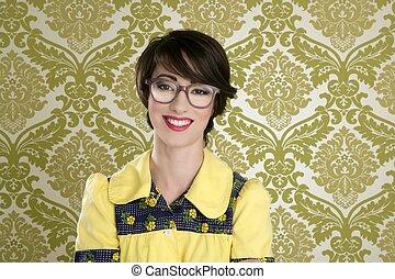 femme, papier peint, 70s, retro, portrait, nerd