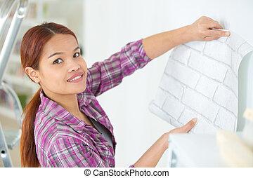 femme, papier peint, pendre