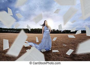 femme, papiers