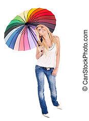 femme, parapluie, blonds