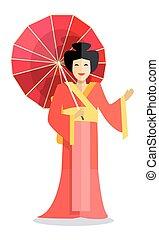 femme, parapluie, chinois, isolé, main, rouges