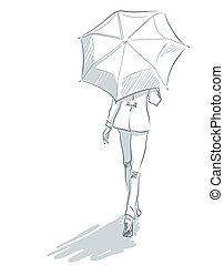 femme, parapluie, dos, line-art, sous