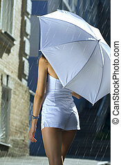 femme, parapluie, dos