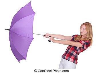 femme, parapluie, elle, balayé, être, loin, vent