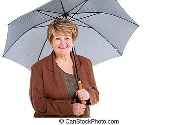 femme, parapluie, mûrir