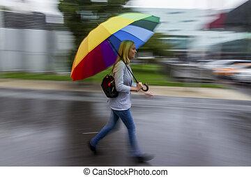 femme parapluie