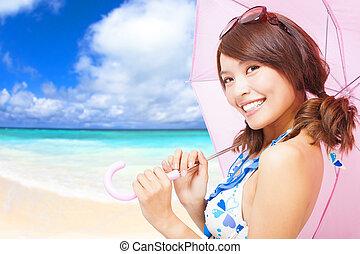 femme, parapluie, tenue, jeune, fond, plage