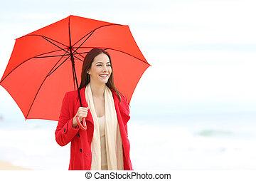 femme, parapluie, tenue, plage, rouges, heureux