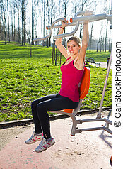 femme, parc, exercisme, gai, equipments, usure, fitness, portrait