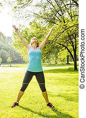 femme, parc, exercisme