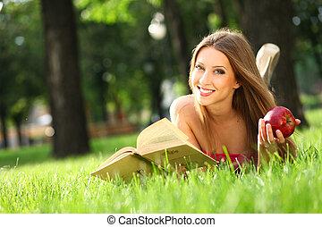 femme, parc, livre
