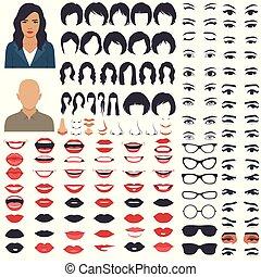 femme, parties, lèvres, caractère, sourcil, figure, ensemble cheveux, bouche, yeux, tête, icône
