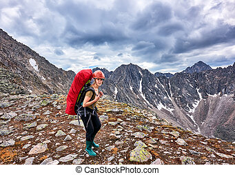 femme, passe, hiking.