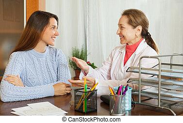 femme, patient, adolescent, docteur