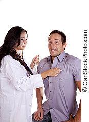 femme, patient, docteur masculin