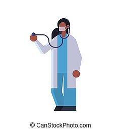 femme, patient, plat, ouvrier, hôpital, clinique, stéthoscope, entiers, manteau, médecine, blanc, docteur, healthcare, monde médical, longueur, cardiologue, masque, concept, examiner