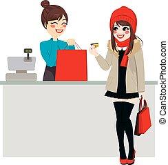 femme, payant, à, carte de débit