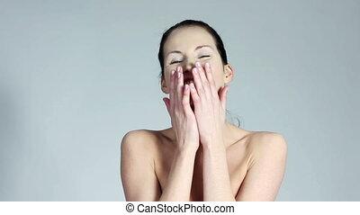 femme, peau, soin beauté, rire
