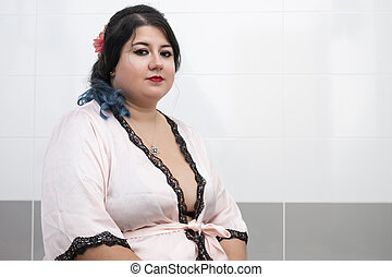 femme, peignoir, sensuelles