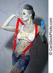 femme, peintre en bâtiment, éclaboussé, à, latex, peinture