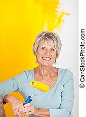 femme, peinture, mûrir, jaune