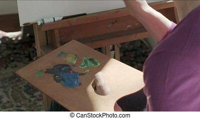 femme, peinture, personnes agées, heureux