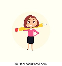 femme, pencil., business