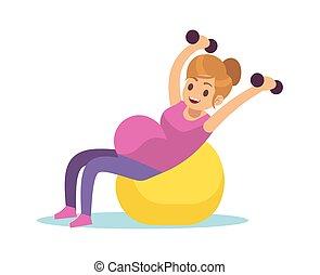 femme, pendant, sport, concept, plat, grossesse, dessin ...