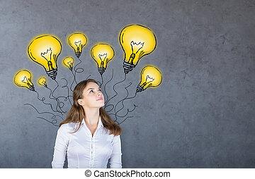 femme pensée, à, lampes