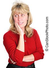 femme pensée, -, mûrir, blonds
