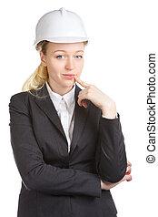 femme, pense, ingénieur