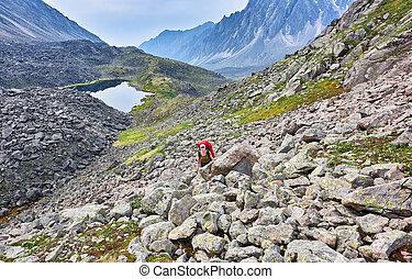 femme, pente, hiking., montées
